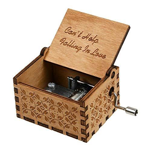 """Huntmic Holzspieluhr mit Aufschrift """"Can't Help Falling in Love"""", Antik-Gravur, Spieluhr für Geburtstagsgeschenk, Kinderspielzeug, handbetrieben"""