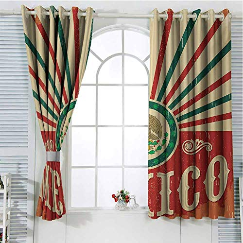 Mexican Curtains for bedroo Retro Pop Art Style Mexico Calligraphy with Tribal Classic Icon on Grunge Image Curtain Living Room Multicolor 55 x 63 inch