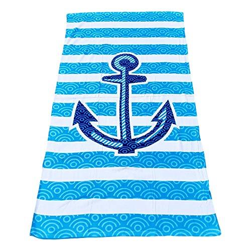 101 Beach Summer Strandtuch, bedruckt, groß, personalisierbar 30 by 60 inch Anker in Blau und Weiß
