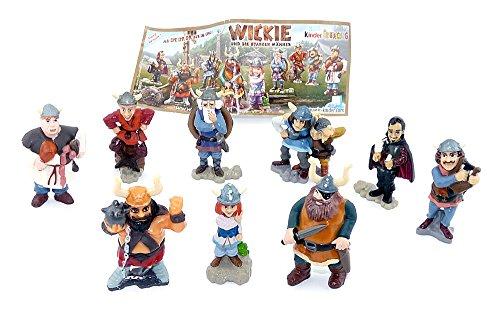 Kinder Überraschung, Alle 9 Figuren von Wickie und die starken Männer mit 1 Beipackzettel zur Serie (Komplettsätze)