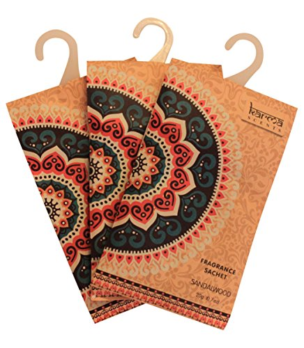 Karma Scents Premium Sandalwood Scented Sachets for Drawers, Closets and Cars, Lovely Fresh Fragrance, Lot of 12 Bags