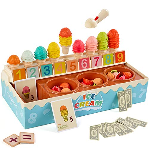 TOP BRIGHT Pretend Play Ice Cream Set, Learn Math Ice Cream Toy for Toddlers, Montessori Ice Cream Counter Toys for 3 Year Old 4 Year Old Boy and Girl