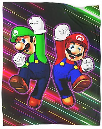Coobal Super Mario Bros Manta de forro polar tamaño Super Mario Bros manta de microfibra ligera para sofás, ropa de cama de 50 x 40 pulgadas