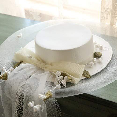 chenfeng Bridal Veil hat Vintage Wide Brim Flat Satin Fedora Hat Women Flower Gauze Bow Mesh Sombrero Cap Bride (Color : White, Size : M 56-58cm)
