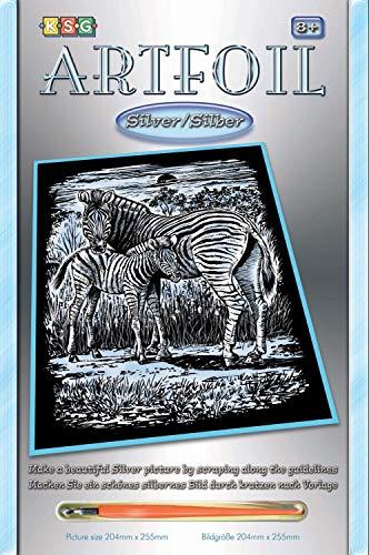 MAMMUT 8251018 - Artfoil, Kratzbild, Tiermotiv, Zebras, silber, Komplettset mit Kratzbild, Kratzmesser und Anleitung, Scraper, Scratch, glänzend, Kratzset für Kinder ab 8 Jahre