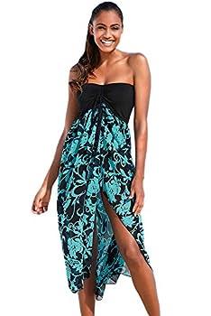Lrady Eiffel Women s Boho Chiffon Off Shoulder Vacation Holiday Summer Beach Cover ups Long Dress Swimwear  X-Large,Black Turquoise