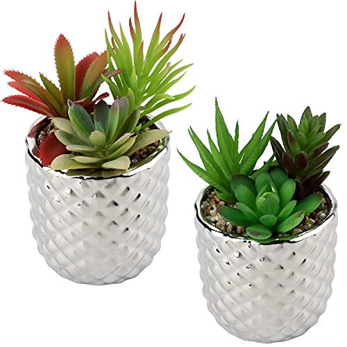 Plantas artificiales suculentas mini plantas de escritorio de imitación suculentas en maceta decoración del hogar 2 unidades