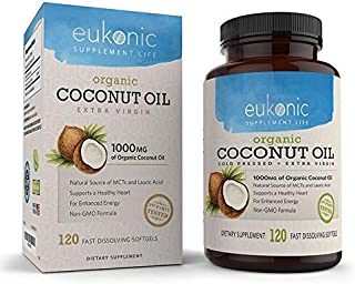 Organic Coconut Oil Capsules Extra Virgin 1000 mg by Eukonic, 120 Softgels, Assists Weight Loss, Supports Healthy Diet & Healthy Cholesterol Levels, Non-GMO, Made in The USA & 3rd Party Tested