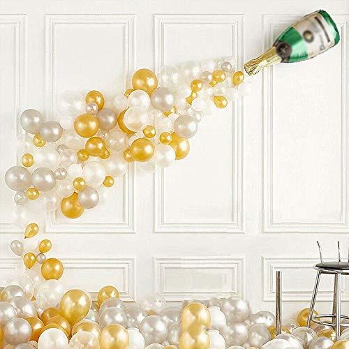 FSJD Botella de champán Globos Decoraciones para Fiestas, para cumpleaños, Compromiso, Navidad, Boda, Globos de graduación, Estrella Dorada de Cinco Puntas, 2 Piezas