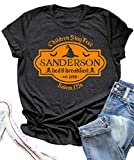 Halloween T Shirt Sanderson Sisters Bed and Breakfast Funny Letter Print Women Short Sleeve Graphic Tees Tops (M, Grey)