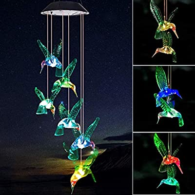 Mosteck Wind Chimes Outdoor Solar Hummingbird Wind Chimes Color Changing LED Mobile Wind Chime, Birthday Gift for Mom/Grandma, Home Party Night Outdoor, Gardening Gift Outside Decor Solar Lights Chime