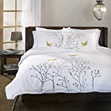 Superior 100% Cotton Percale Embroidered 3-Piece Duvet Cover Set, Full/Queen, Gold Swallow
