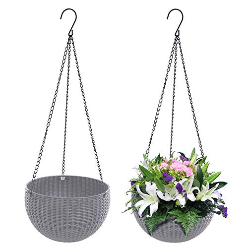 EisEyen - Set di 2 cestini per fioriera sospesa, con ganci, colore: Grigio/Bianco/Rosso/Blu/Marrone grigio.