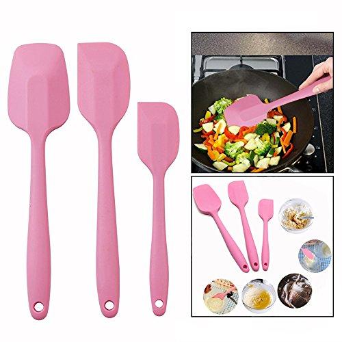 OFKPO 3 Pezzi Coltelli Spatola in Silicone da Cucina Progettati per Cucinare(Rosa)