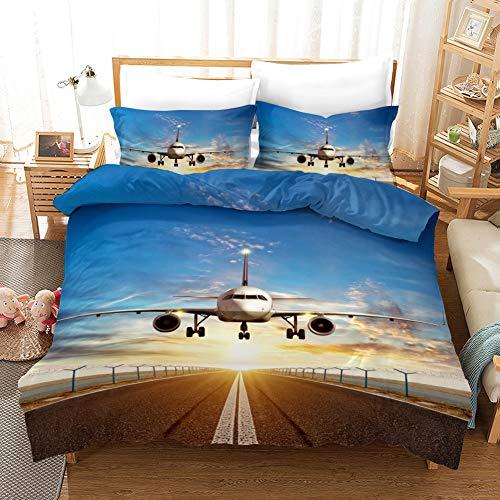 Fansu Bettbezug Bettwäsche Set 3 teilig, Mikrofaser 3D Flugzeuge Bedrucktes Bettwäsche-Set Kopfkissenbezug Bettbezug mit Reißverschluss Schließung (135x200cm-2pcs,Landung)