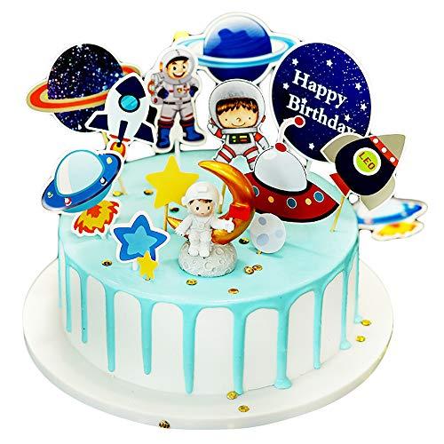 Elinala Tortendeko Geburtstag, Tortendeko Kind, 14PCS Astronaut Space Theme Party Kinder Alles Gute zum Geburtstag Kuchen Dekoration Topper