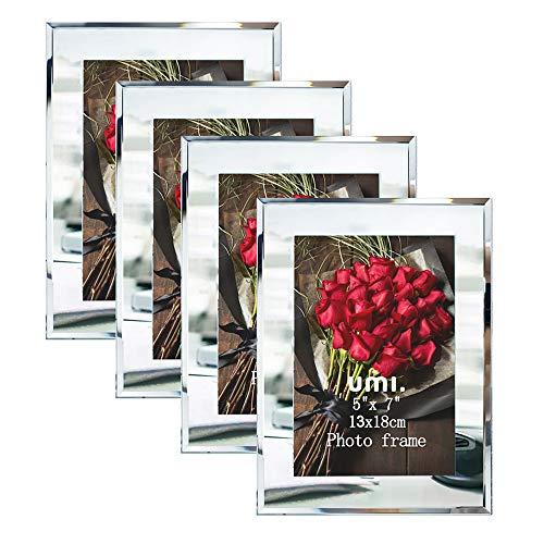 Umi.Essentials 4 Stück Glasrahmen Bilderrahmen für Bilder 13x18cm ideal für Familienfotos Babyfotos und Hochzeitsfotos