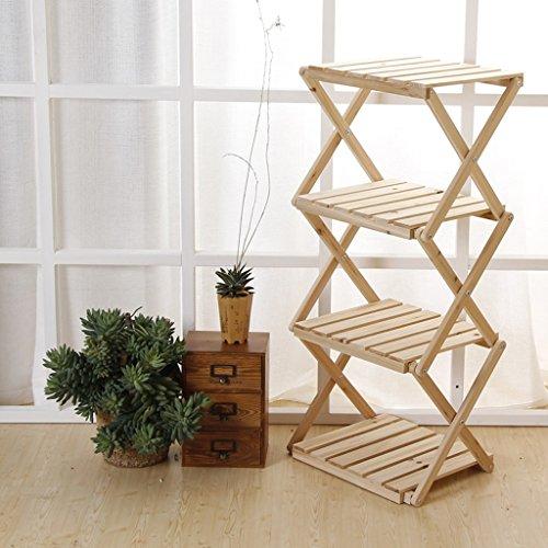 FL- Simple 4 couche pliante solide fleur étagère en bois étagère bibliothèque multifonctionnelle de stockage rack balcon cadre intérieur (Couleur : Couleur du bois, taille : 41.5 * 31 * 90cm)