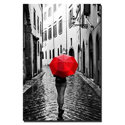 Danjiao Realistische Regentage Landschaft Leinwand Gemälde Digital Hd Print Frau Mit Einem Roten Regenschirm Stadt Landschaft Home Decor Cuadros Bild Wohnzimmer 60x90cm