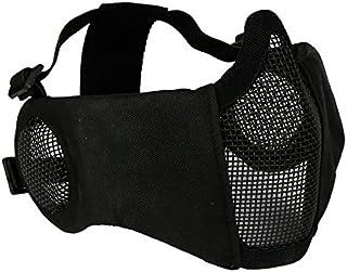 haoYK Media Cara máscara de Inferior Plegable táctico de Malla Ajustable Metal Acero máscara con protección para los oídos para Airsoft/Caza/Paintball/Shooting
