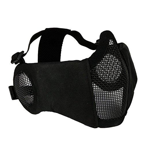 haoYK Máscara de media cara inferior plegable de malla ajustable táctica de acero con protección para los oídos para airsoft/caza, paintball/tiro, negro