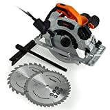 VonHaus Circular Saw 1500W with 2 Blades – Parallel Track Plunge/Jig/Straight Cutter – Speed Control – Laser Guide – MDF – Steel Body – 3m Long Power Cable