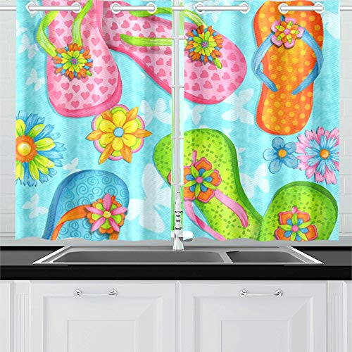 AIKENING Summer Colorful Flip Flop On Beach Kitchen Curtains Window Curtain Tiers for Café, Bath, Laundry, Living Room Bedroom 26 X 39 Inch 2 Pieces