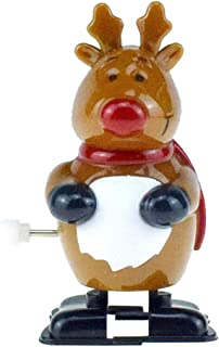 Armfer-household supply Christmas Wind Up Toys Cute Elk Clockwork Spring Toys Non-Toxic Plastic Bounce Toy Jumping Deer Tabletop Ornaments Best Gift for Boys Girls Kids Holiday Birthday Party Favors