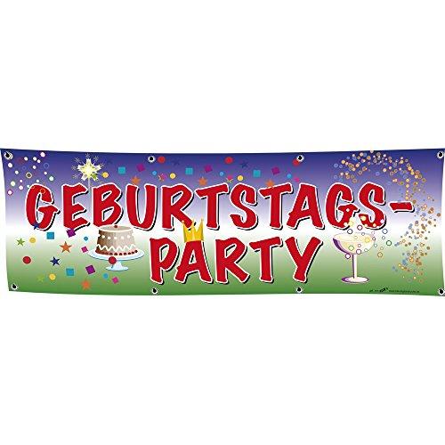 Banner reclamebanner - verjaardagsfeest - maat 3 m x 1 m - spanband - 309922