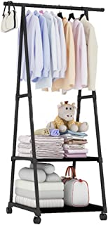 Garment Rack Clothes Rail Stand Clothing Rod with 2 Tier Storage Shelves Rolling Wheel Moveable Sturdy Portable for Clothe...