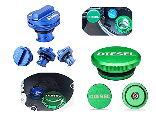 Dodge RAM Diesel Fuel Cap & DEF Fuel Cap Truck Accessories Blue Gas Green Cap For Dodge Ram 1500 2500 3500 Magnetic Easy Grip Design Billet Aluminum Combo Pack O-Rings Safe & Protect System 2013-2018