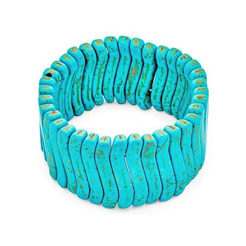 Bling Jewelry Moda Moda Boho Wave Cuentas Azul Ancho Plano simulado Azul Turquesa Pulsera elástica para Las Mujeres para Adolescentes Ajustable