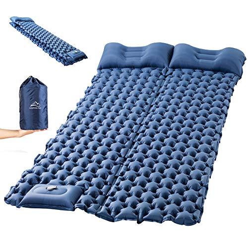 Luxear Isomatte Camping selbstaufblasend mit schnelle Fußpumpe faltbar, aufblasbare Luftmatratze Outdoor leicht tragbar, reißfeste Schlafmatte für Camping Wandern Backpacking Trekking Strand-120x200cm