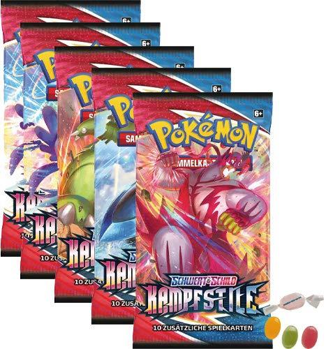 Pokemon Schwert & Schild - Kampfstile - 5 Booster - Deutsch zusätzlich 1 x Sticker-und-co Fruchtmix Bonbon
