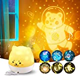 ACPLAY Proyector de luz nocturna para niños, lámpara de noche Baby Bear con caja de música, lámpara de cuna para dormitorio, proyector de estrella giratorio de 360 ° (Bebe oso)