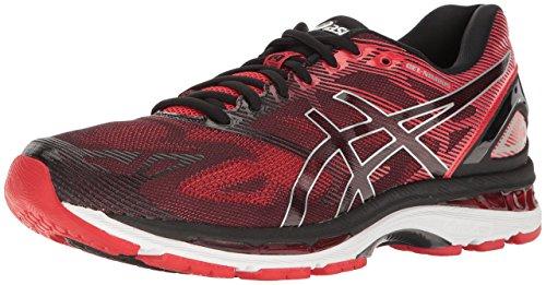 ASICS Men's Gel-Nimbus 19 Running Shoe, Black/Vermilion/Silver, 9.5 M US