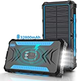 Solar-Power-Bank-Charger,Portable Charger, Power,Bank,32800mAh Outputs 5V/3A High-Speed & 2 Inputs Huge Capacity Phone Charger for Smartphones, IP66 Rating, Strong Light LED Flashlights(Blue)