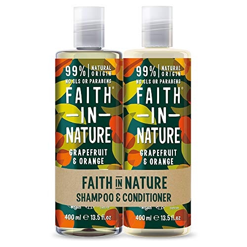 Faith in Nature Set de Champú y Acondicionador Natural de Pomelo y Naranja, Vegano y No Testado en Animales, sin Parabenos ni SLS, para Cabello de Normal a Graso, 2 x 400 ml
