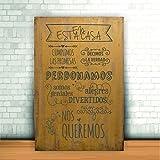 Enkolor/Cuadro Madera/Frases positivas/Normas de casa/Artesanal/Mostaza/40X60cm.