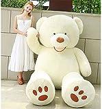 Peluche gigante XXL, diseño de osito de peluche con texto en inglés 'Teddy Bear Immense' para cumpleaños, Navidad, niños y fiestas (blanco, 200 cm)