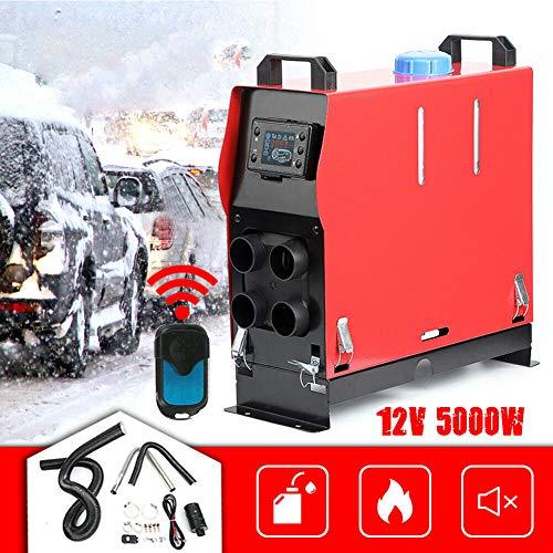 Triclicks - Riscaldatore Diesel, Riscaldatore di Parcheggio Diesel a 4 Fori, Monitor LCD per Riscaldatore Notturno dell'Aria di Magazzino,12V,5000W (Rosso)