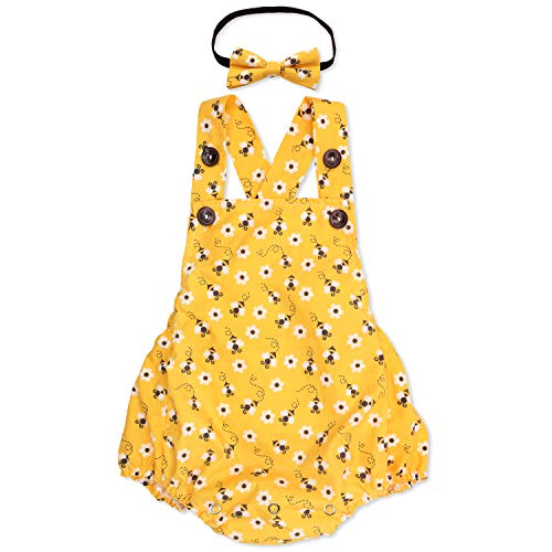 Eunikroko Honey Bee Romper with Headband for Baby Girls First Birthday Yellow Bumble Bee Outfit for First Bee-Day Cake Smash Photoshoots Supplies