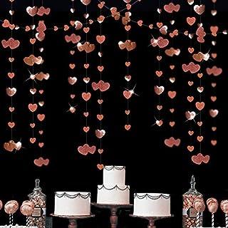 52 Ft Rose Gold Double Heart Hanging Garland Double Sided Glitter Metallic Paper Banner for Bachelorette Engagement Weddin...