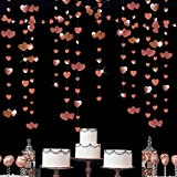 52 Ft Rose Gold Heart Hanging Garland Glitter Metallic Paper Streamer Banner for Anniversary Mother's Day Bachelorette Engagement Wedding Bridal Shower Birthday Valentines Party Decorations (4 Packs)