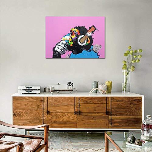 Handgeschilderd Gorilla der Hört muziek dieren olieverfschilderij op canvas Pop Kunstst Banksy schilderij slaapkamer wanddecoratie schilderij 50x70cm Noframe