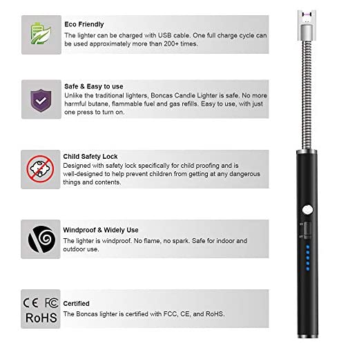 Boncas Flexible Arc Lighter USB Candle Lighter Plasma Lighter Rechargeable Windproof Lighter Long for Household Camping… 5