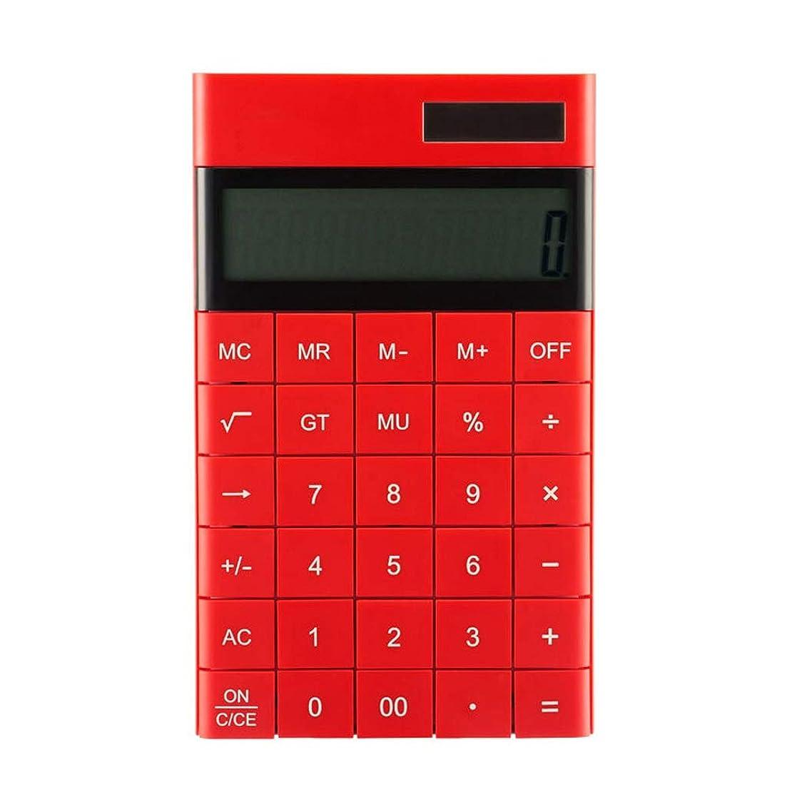 何よりも状鋭く(ハロー) Haxuronics 電卓 12桁 大画面表示 電卓 ポータブル デュアルエネルギー 薄型 フラットキャンディーカラー クリエイティブ ビッグボタン計算機 レッド 12366
