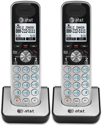 AT&T TL88002 Accessory Cordless Handset, Silver/Black, 2 Pack (Requires an AT&T TL88102 Expandable Phone System to Operate0