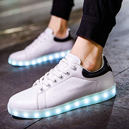 F-JX Unisex Adult Chirren LED Light Shoes Zapatos, Botas Intermitentes Recargables USB, Hombres Mujeres Ghost Walk Zapatos Zapatos Luminosos, Negro,Men's,44
