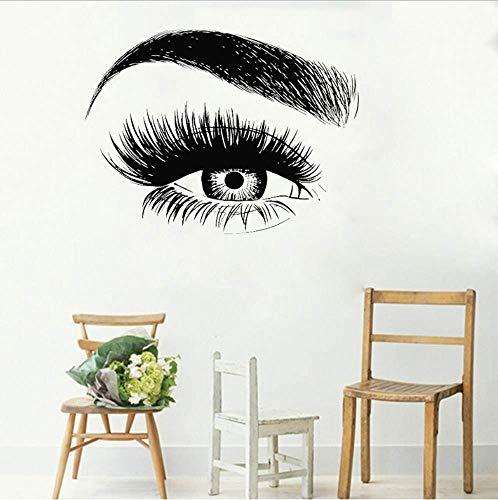 Yeux Cils Sticker Fenêtre Autocollant Cils Sourcils Sourcils Salon De Beauté Citation Maquillage Vinyle Fille Chambre Stickers Muraux 42x56cm